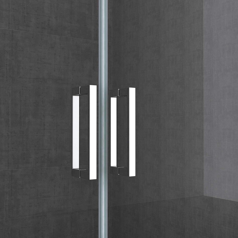 Double porte de douche transparent 130cm Paroi de douche /à litalienne autolevante pivotante 130x195cm Sogood Teramo24 verre ESG Nano anti-calcaire