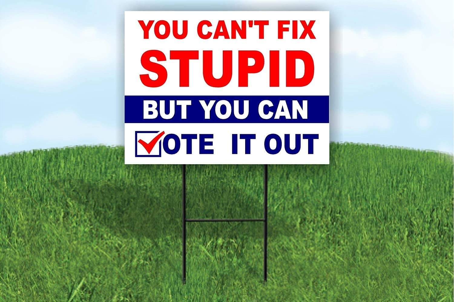 Amazon Com Biden Harris 2020 You Can T Fix Stupid But You Can Vote It Out Trump Yard Sign Road Sign With Stand Garden Outdoor