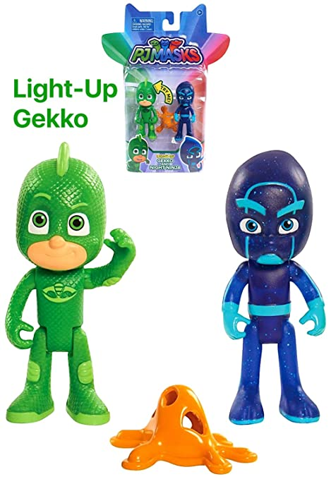 Pj Masks Night Ninja & Light Up Gekko Action Figure Set ...