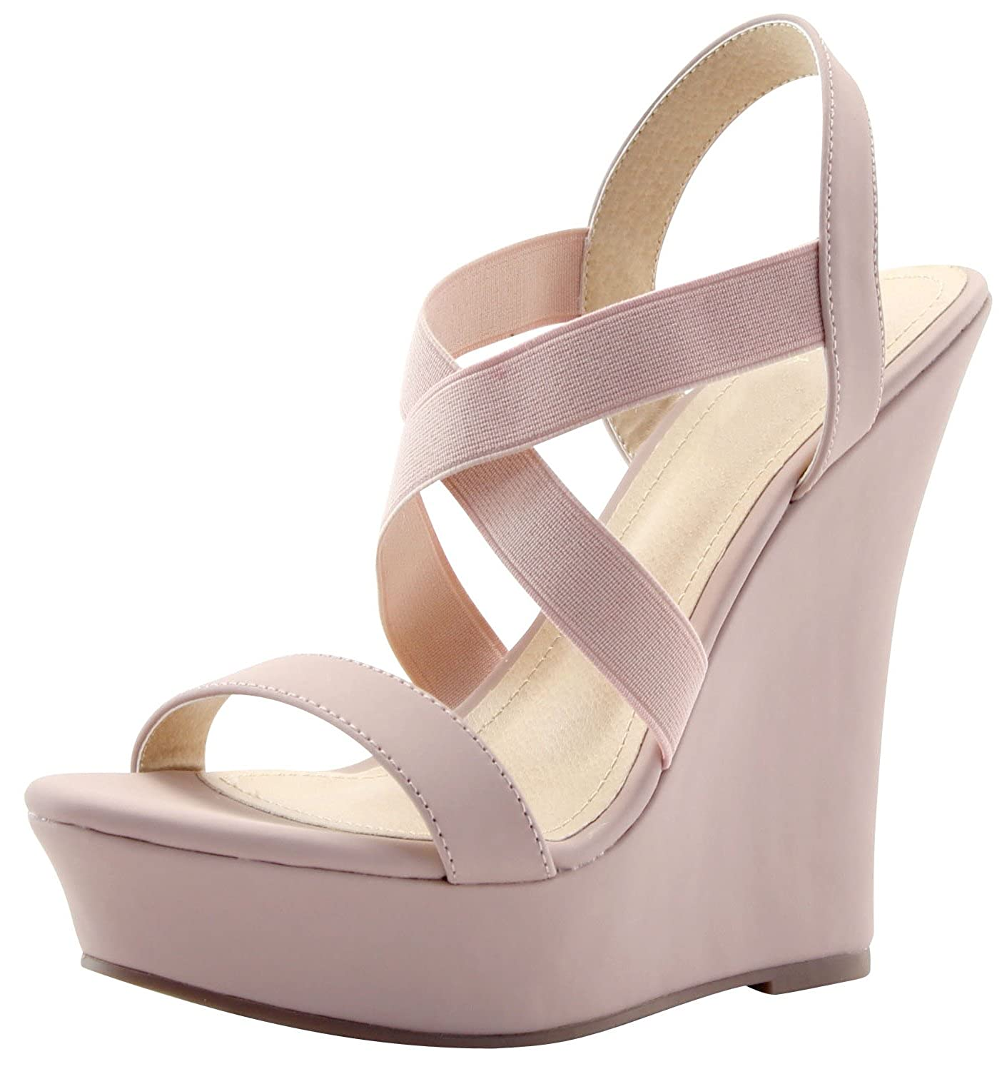 9895d64178 With stretch elastic straps and a generous platform to balance a high wedge,  this sandal will keep you comfortable in style