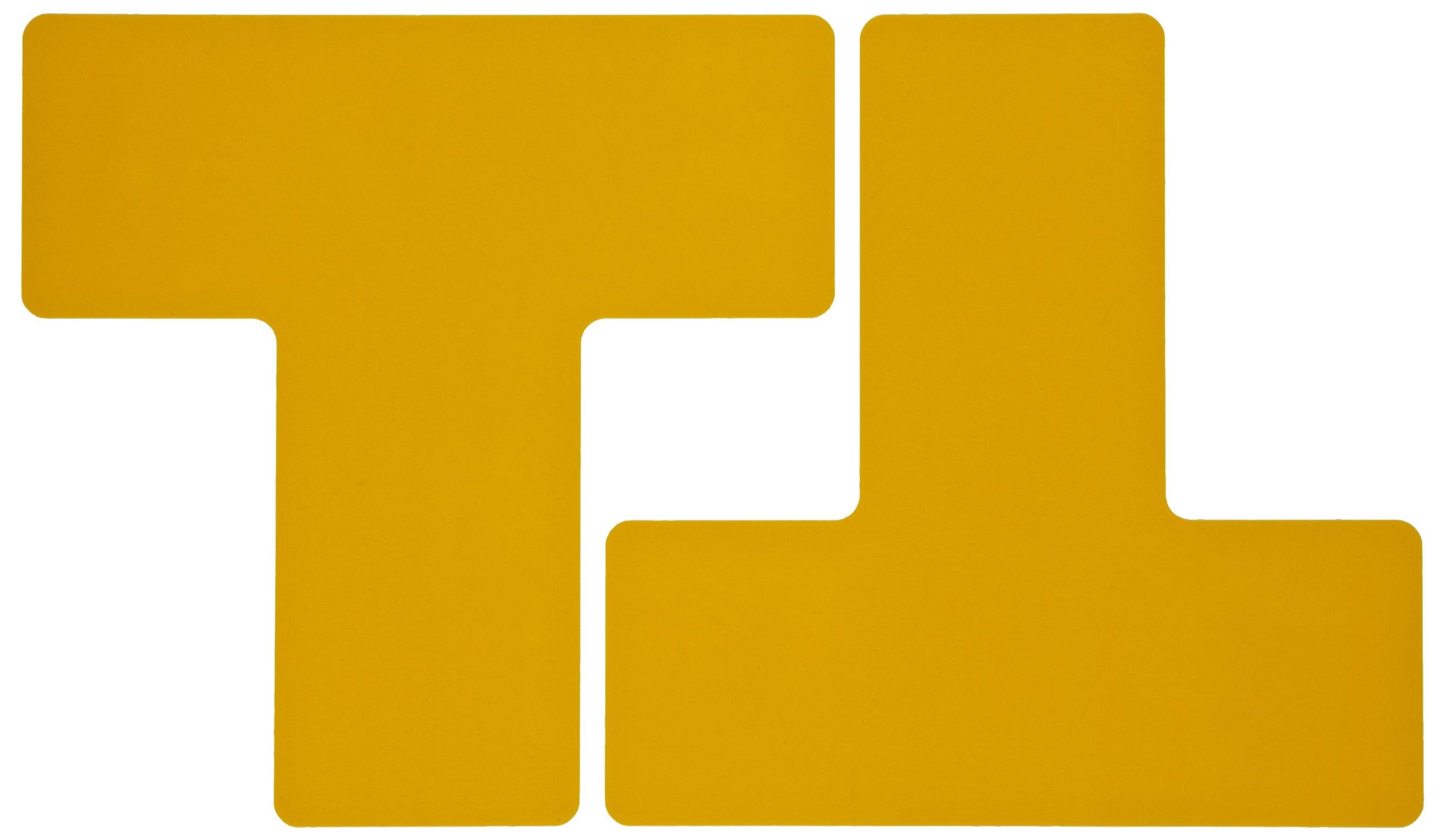 Brady ToughStripe Nonabrasive T Shape Floor Marking Tape, 8'' Length, 3'' Width, Yellow (Pack of 20 per Roll)