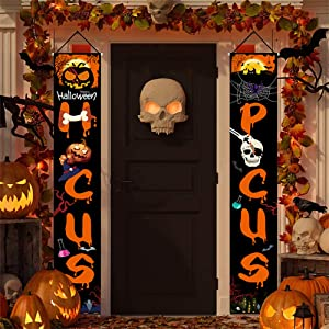 Halloween Hocus Pocus Decorations Outdoor Indoor Set of 2-Large Banners Porch Signs - Witch Decor for Home Front Door Outside Yard Garden Party Office Sign for Porch Garage Door