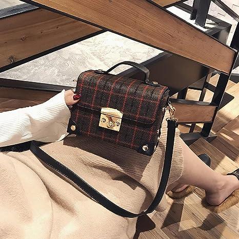 Aoligei Versión Coreana de la Bolsa de Lana Caja plazoleta de Moda Cien Cuadros Solo Hombro