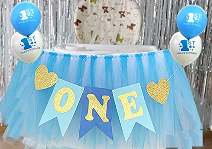 Image Unavailable Not Available For Color Blue 1st Birthday Boy Baby High Chair Tutu Decoration