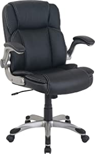 Lorell LLR81802 Soho Flip Armrest Mid-Back Leather Chair, Black