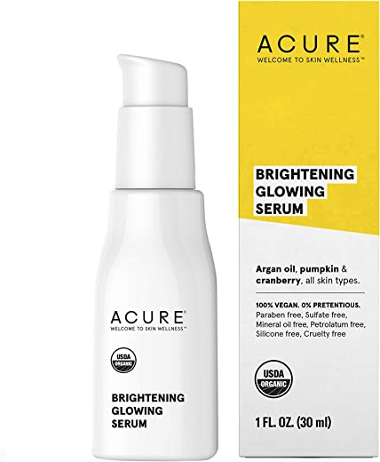 Acure Brightening Glowing Serum   100% Vegan   For A Brighter & Appearance   Argan Oil, Pumpkin & Cranberry - Hydrates, Soothes & Adds Antioxidant Protection   All Skin Types   1 Fl Oz