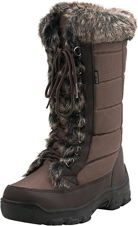 af1d6aded Shenda Women's Mid-Calf Oxford Fabric Snow Boots E7623 Chocolate 5.5US/36EU