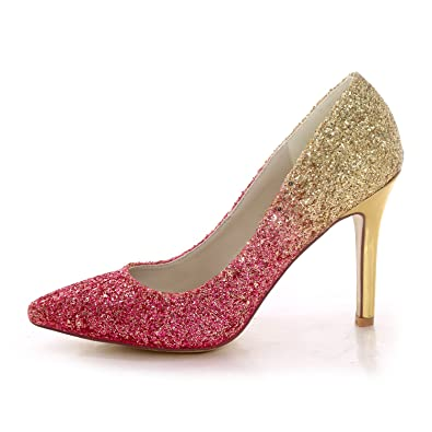 66a3f170a77e Creativesugar Graduated Color Glitter hotpink Gold high Heels Dress Shoes  Pointed Toe Pumps (5.5)
