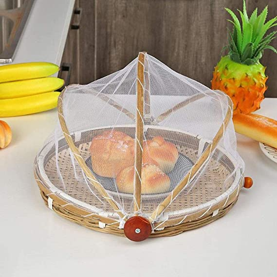 Pandiki Tienda de Alimentos Sirviendo la Cesta de Fruta Vegetal Pan Tapa Contenedor de Almacenamiento al Aire Libre de Picnic Alimentos de Malla recogedor