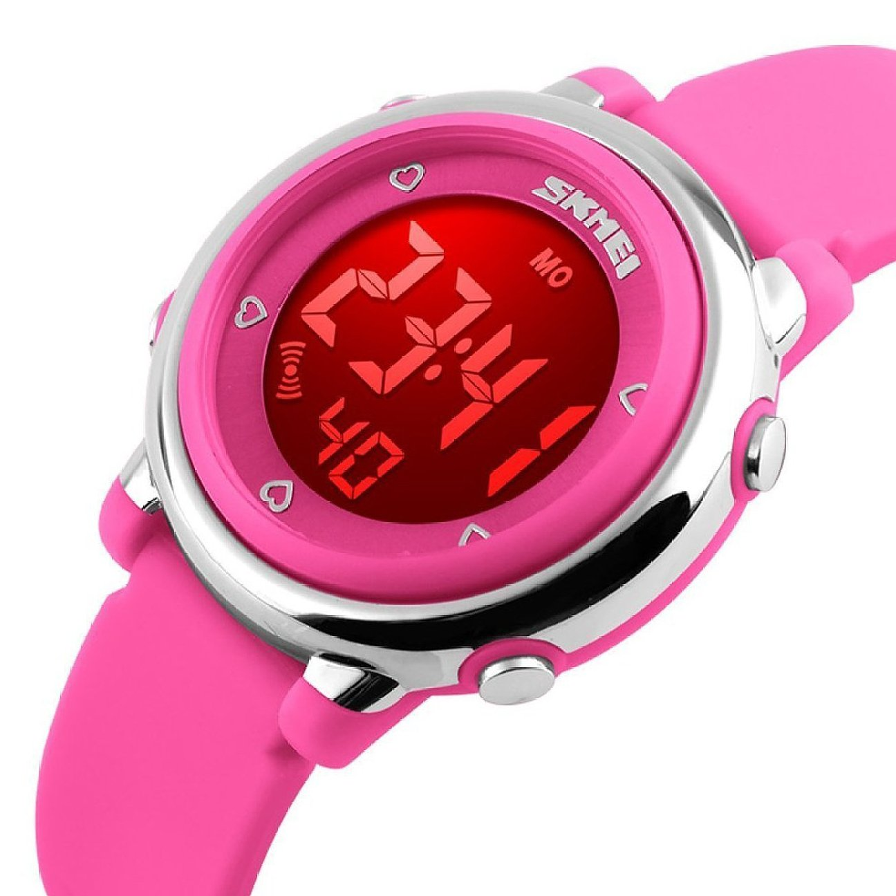 Digital Kids Watch Band with Hourly Chime, Stopwatch, Daily Alarm & Calendar, Water Resistant 30M (Pink Rose Red) by BETTERLINE