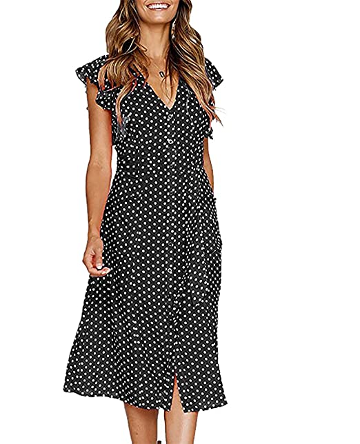 1f9ad30c5f9b35 BTFBM Women s 2018 V Neck Polka dot High Waist Tie Bow Streetwear Boho Maxi  Dress Without Belt