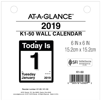 AT-A-GLANCE 2019 Daily Wall Calendar Refill, 6
