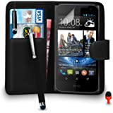 HTC Desire 310 Premium Leather Black Wallet Flip Case Cover Pouch + Mini & Big Touch Stylus Pen + RED 2 IN 1 Dust Stopper + Screen Protector & Polishing Cloth SVL3 BY SHUKAN®, (WALLET BLACK)