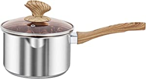 VENTION Thick-bottomed Stainless Steel Saucepan, Food Grade Saucepan with Pour Spout, Metal Pan with Cover, Support for Stove and Induction, Suitable for Milk, Making Candy and Baby Food, 2 Quart