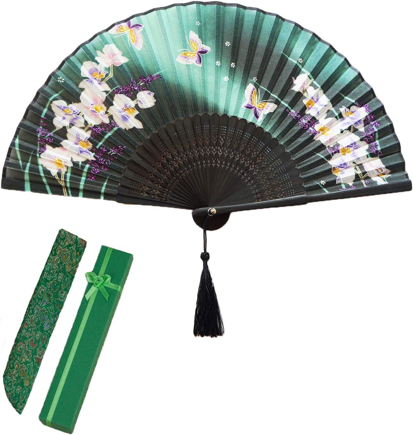 Marco de bamb/ú FtingSun Abanico Plegable de Mano con dise/ño de Seda Estilo Chino japon/és bailar/ín para Fiestas