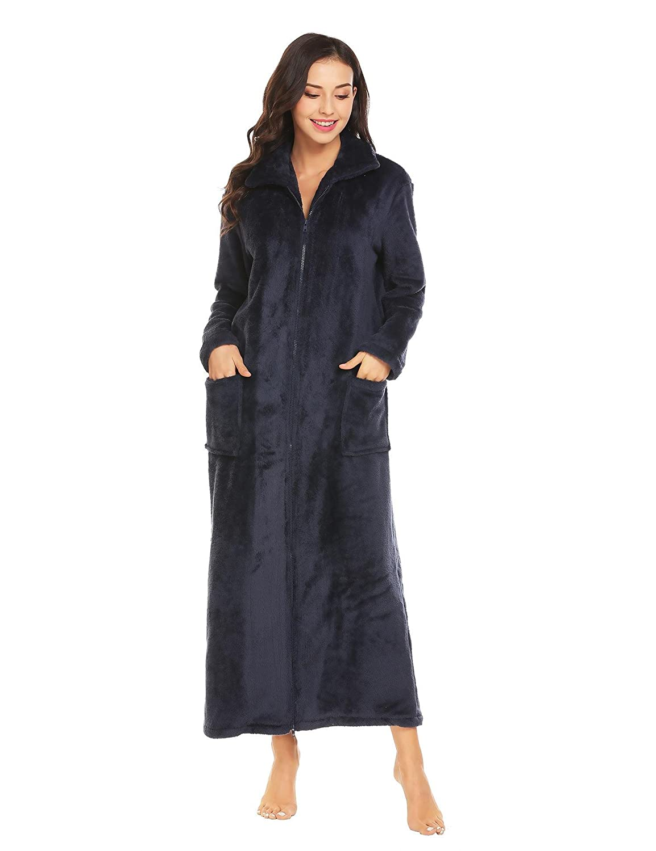 402b109767 Ekouaer Women s Flannel Robe Zipper Front Robes Full Length Bathrobe(S-XXL)  at Amazon Women s Clothing store