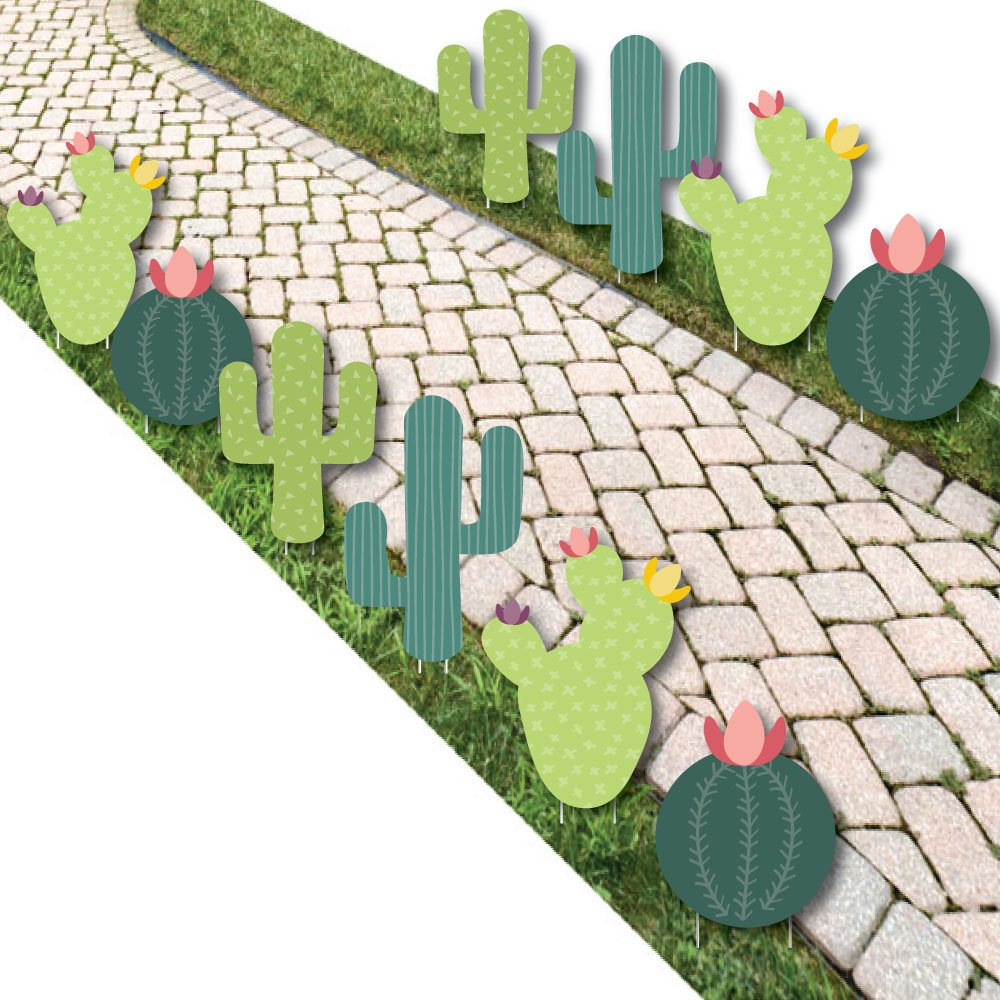 Prickly Cactus Party - Cactus Lawn Decorations - Outdoor Fiesta Party Yard Decorations - 10 Piece