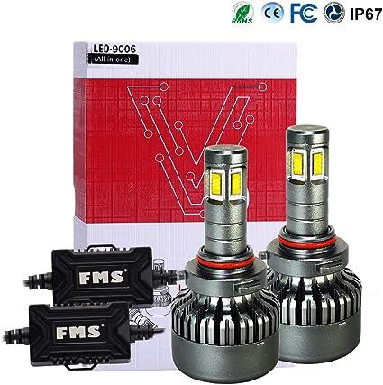 FMS 2 * 9006 HB4 LED Faro Bombillas LED Coche Kit, Moto Alquiler de Luces del 6000K Korean Seoul LED Chips IP67 40W 4800LM luz Bombilla Blanca (9006/HB4): Amazon.es: Coche y moto