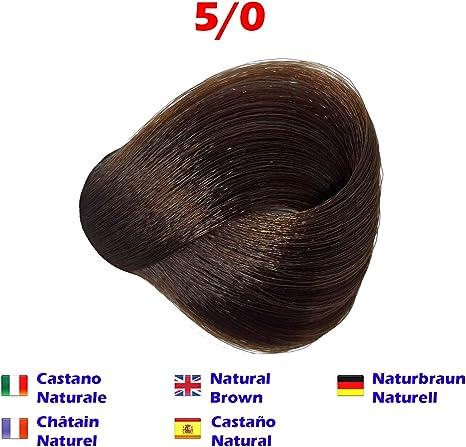Tinte de Pelo Profesional Castaño Claro Natural sin Amoníaco 5/0 Permanente 100ml Made in Italy