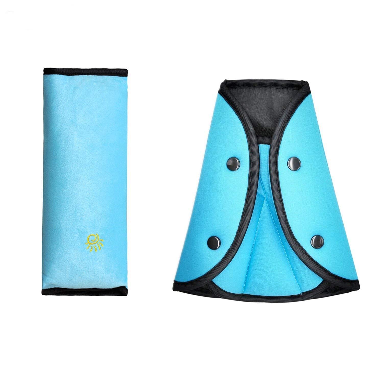 FushoP Seat Belt Safety Covers Adjuster and Seat Belt Shoulder Pads Seatbelt Pillow for Children (Blue)
