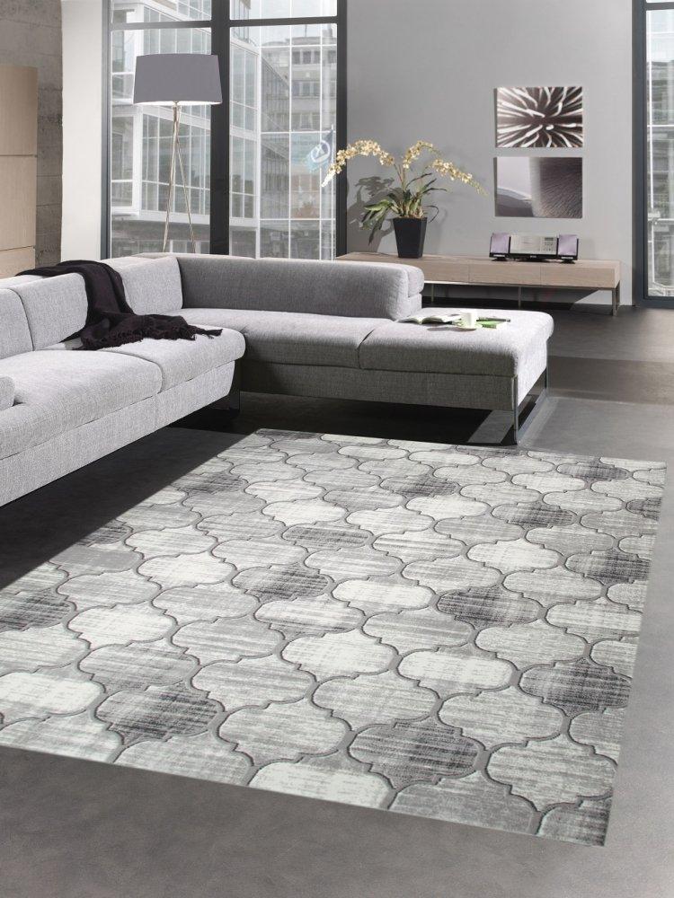 Carpetia Moderner Teppich Kurzflor Teppich Wohnzimmerteppich grau marokkanisches Muster Größe 200 x 290 cm