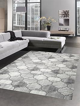 Salon Tapis Classique Tapis Moderne Gris Motif Marocain Grosse 160x230 Cm