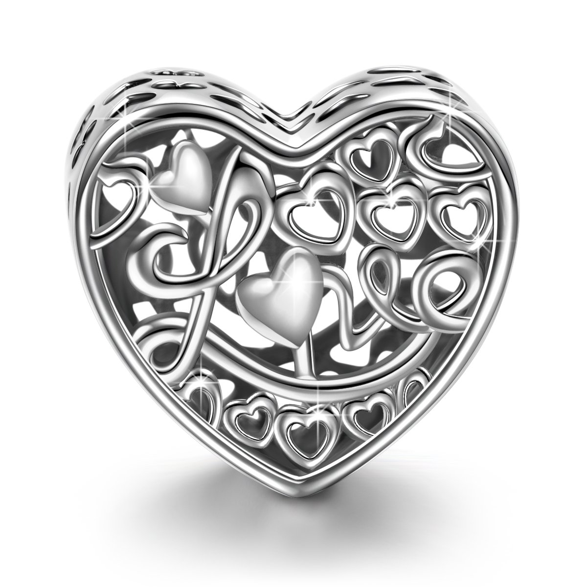 NINAQUEEN Love Icing Heart Shape Charms 925 Sterling Silver Hollow Bead Charms Fit for Bracelet Jewelry Gifts For Mom Birthday Anniversary Gifts For Her Wife Lover