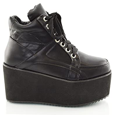 990b341b58e0 Ladies Chunky Cleated Sole Womens Platform LACE UP Goth Punk Ankle Boots  Shoes Size 3 4