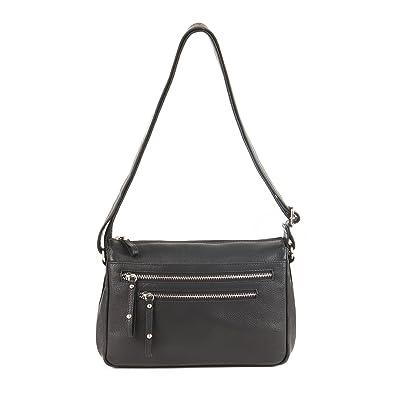 Amazon.com  GAL Genuine Leather Double Zip Crossbody Handbag - Black ...
