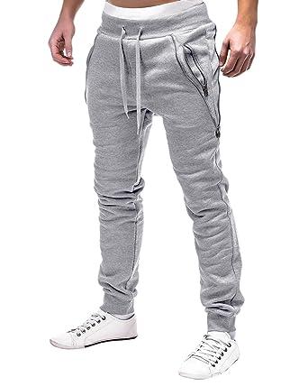 665a3842272 MODCHOK Homme Pantalon Jogging Bas de Survetement Sweat Pants Sarouel Sport  Slim