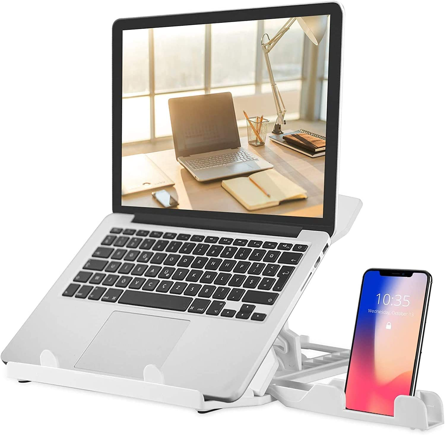 "Adjustable Laptop Stand, Laptop Computer Holder with Integrated Phone Holder, Multi-Angle and Height Foldable Laptop Mount with Portable Handle, Compatible for 9 to 15.6"" Laptops (White)"