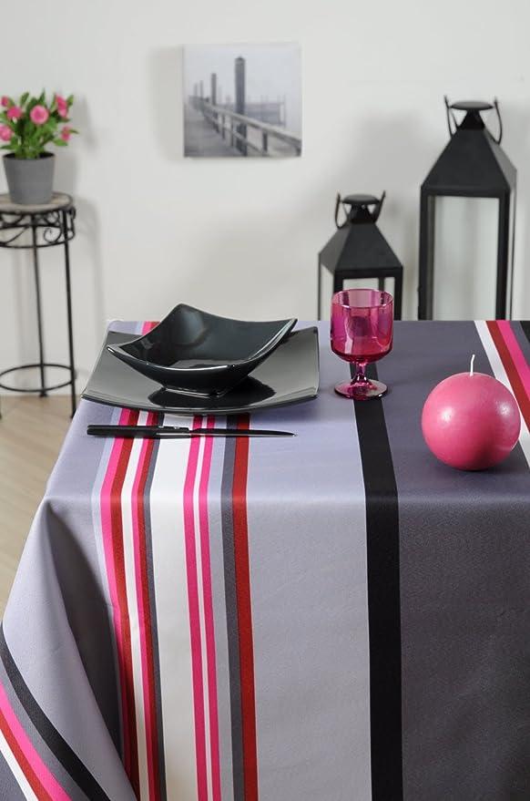 Stof - Nappe enduite rectangulaire rayée SEBASTIAN - 100% Coton - gris  anthracite rose fuschia - 155x250cm - cuisine ou salle à manger