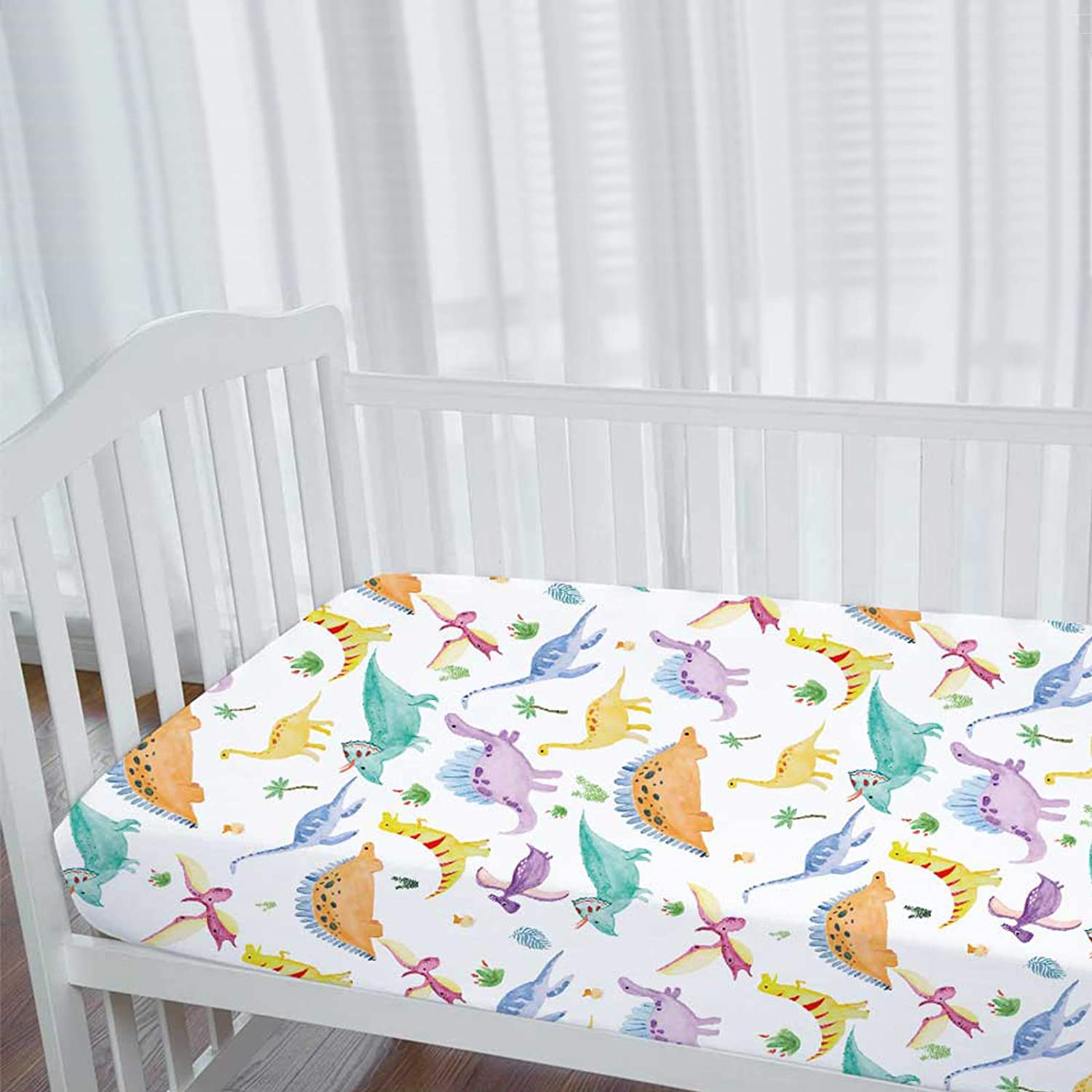 Dinosaur Crib Sheets for Boys Girls, Baby Toddler Sheets, Nursery Bedding, Soft and Breathable, Microfiber Soft, Fits Full Standard Size Crib Mattress 28in x 52in