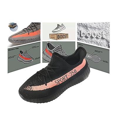 Men's Women's Breathable Mesh Boost 350 V2 Sport Sneakers Running Shoes Fitness Sneakers (US_4/EUR_36/cm_22 Black Orange)