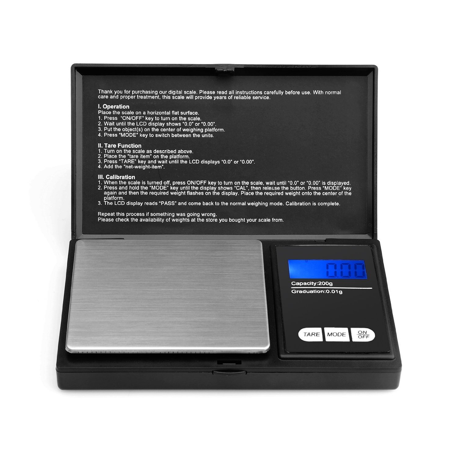 Ascher Elite Digital Pocket Scale 200 x 0.01g, with Back-lit LCD Display, Mini Digital Weighing Scale 200g for Jewelry Coins Reload and Kitchen Scale