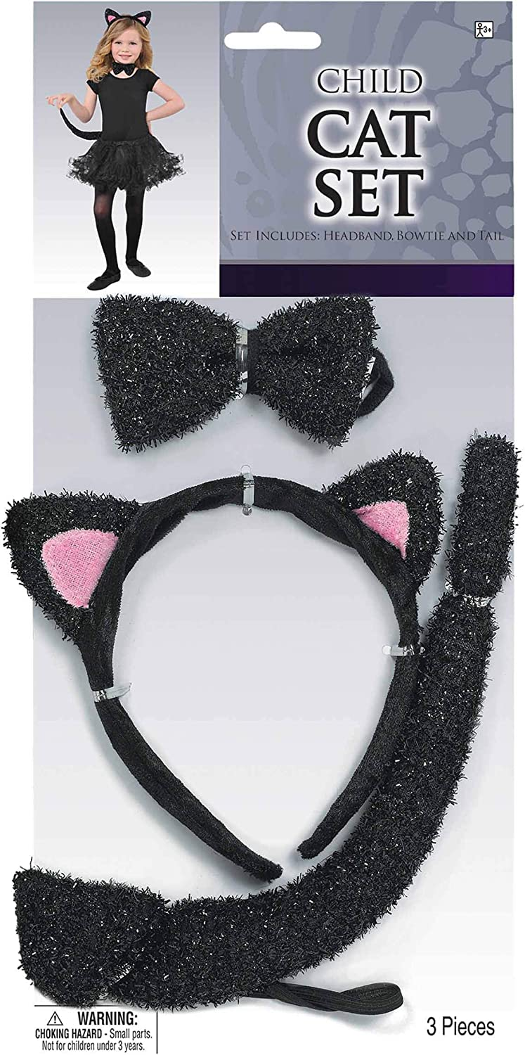Amscan Glitter Cat Accessory Kit for Kids, One Size, 3 Pieces