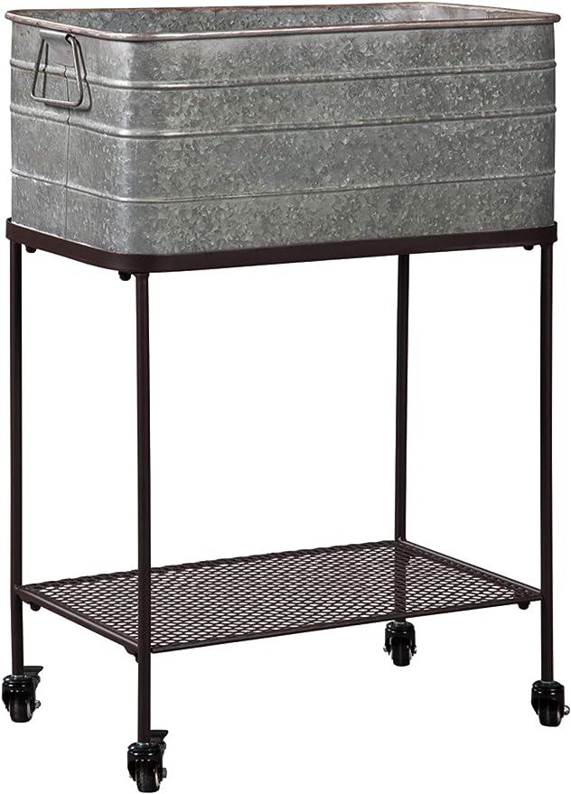 Signature Design By Ashley Vossman Galvanized Metal Beverage Tub Antique Gray Furniture Decor Amazon Com