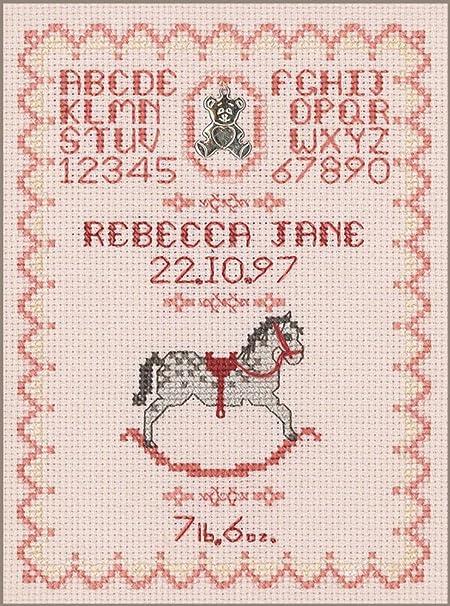 Cavalluccio A Dondolo A Punto Croce.Rosa Nascita Per Una Ragazza Completo Kit Punto Croce Su Rosa 16