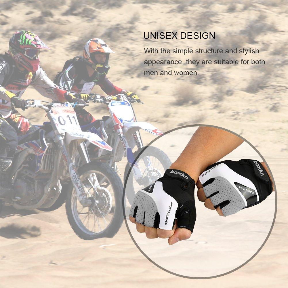 Vbiger Cycling Gloves, Men\'s Half Finger Biking Gloves MTB Gloves with Anti-Shock Gel Pad (B-Grey, M)