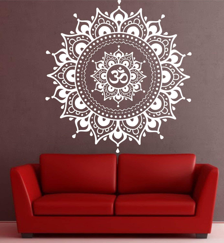 Mandala in Half Floor Sticker Decor for Home Colorful Mandala Floor Decal Removable Vinyl Sticker for Meditation Studio Yoga #1