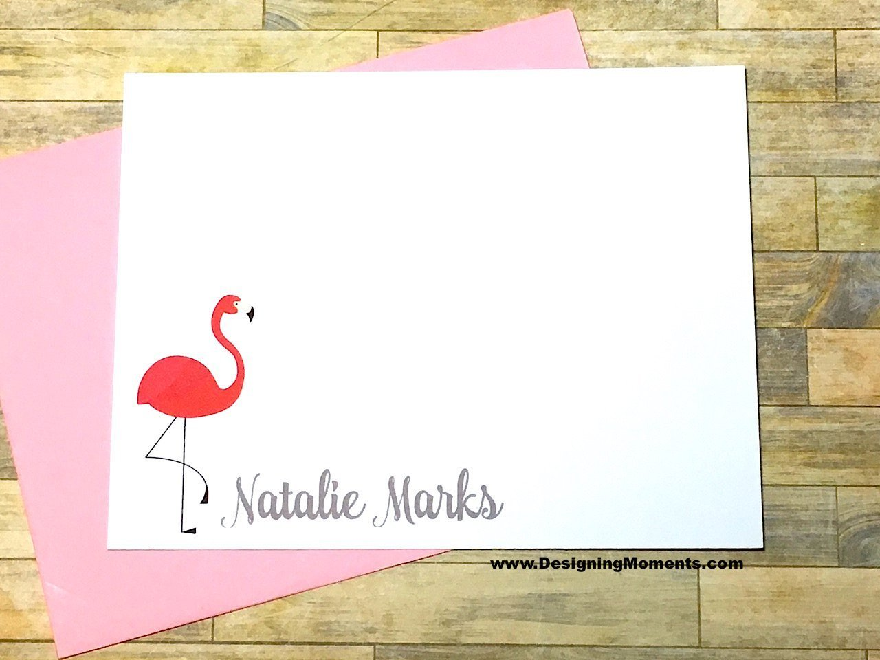 Pink Flamingo Note Cards - Personalized Stationery - Flamingo Cards - Thank You Cards - Kids Stationary - Flat Cards DM217