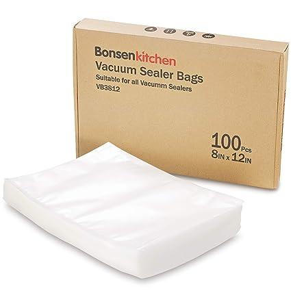 Bonsenkitchen Bolsas envasado al vacío BPA Free Quart Tamaño estándar 20 x 30 cm para Almacenamiento de Alimentos y Cocina Sous Vide, 100 Bolsas, ...