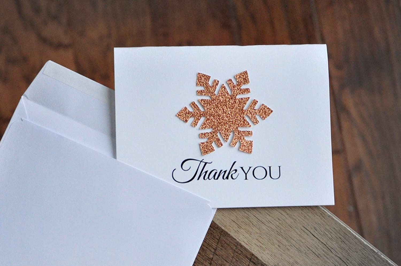 Snowflake Thank You Cards Winter Wonderland Thank You Cards. Rose Gold Thank you Cards with Envelopes Qty. 10