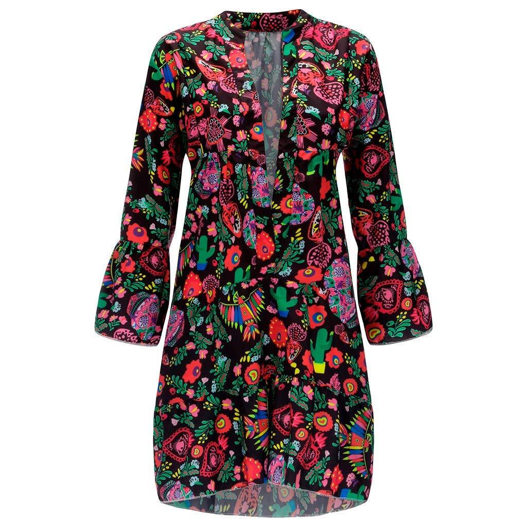 Barthylomo Women's Floral Print Loose Mini Dress V-Neck Long Sleeve Shift Dress