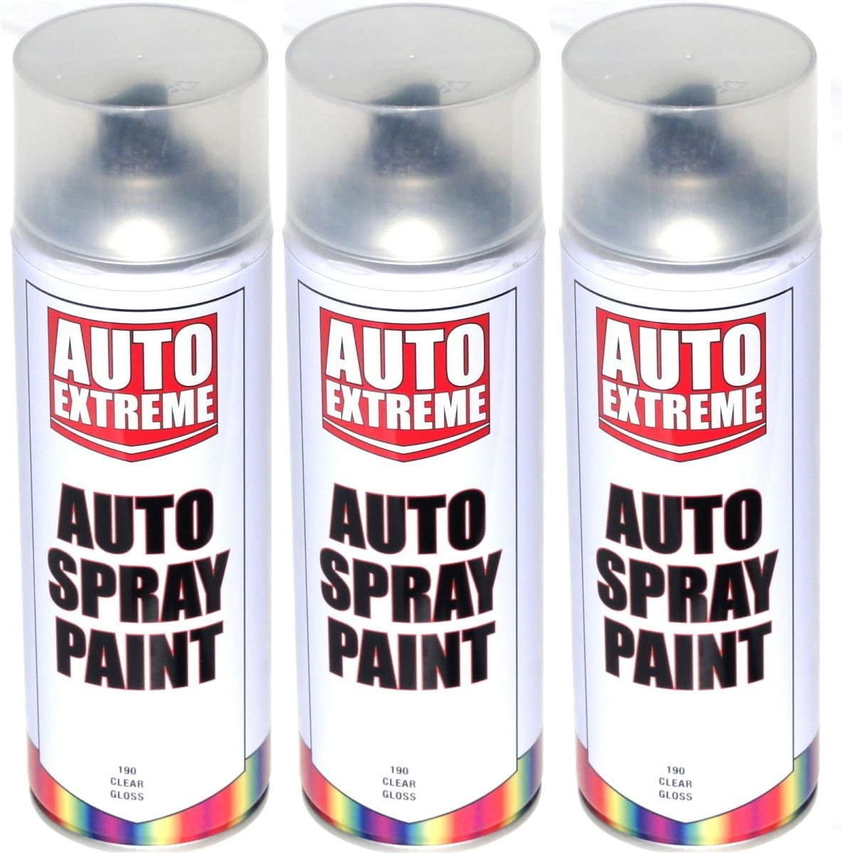 3 x Claro lacado brillante Spray de pintura aerosol puede Auto ...