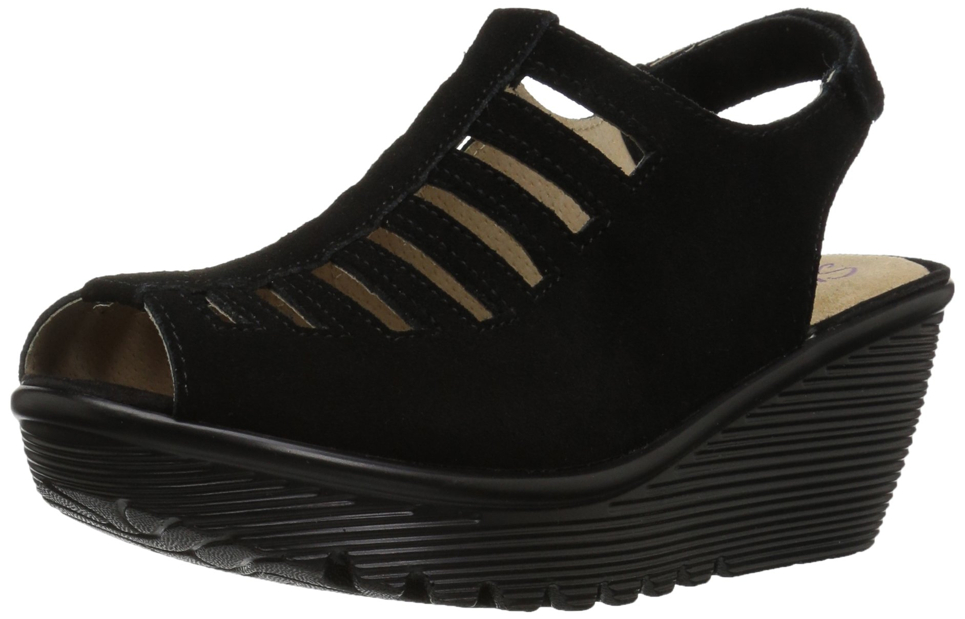 Skechers Women's Parallel-Trapezoid Wedge Sandal,Black,8.5 M US