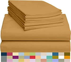 LuxClub 6 PC Bamboo Sheet Set w/ 18 inch Deep Pockets - Eco Friendly, Wrinkle Free, Hypoallergentic, Antibacterial, Fade Resist, Silky, Stronger & Softer Than Cotton - Medallion Gold California King