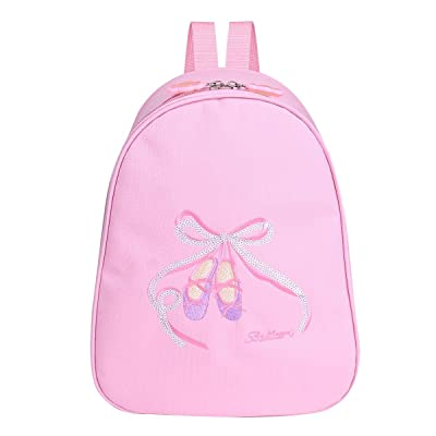 TiaoBug Girls Ballet Backpack Gym Dance Bag Embroidered School Shoulder Bag Pink One Size: Clothing