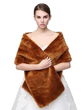 Sarahbridal Womens Elegant Wedding Faux Fur Shrug Wrap Bridal Bolero Evening Tippet Jacket Cape Stole Shawl