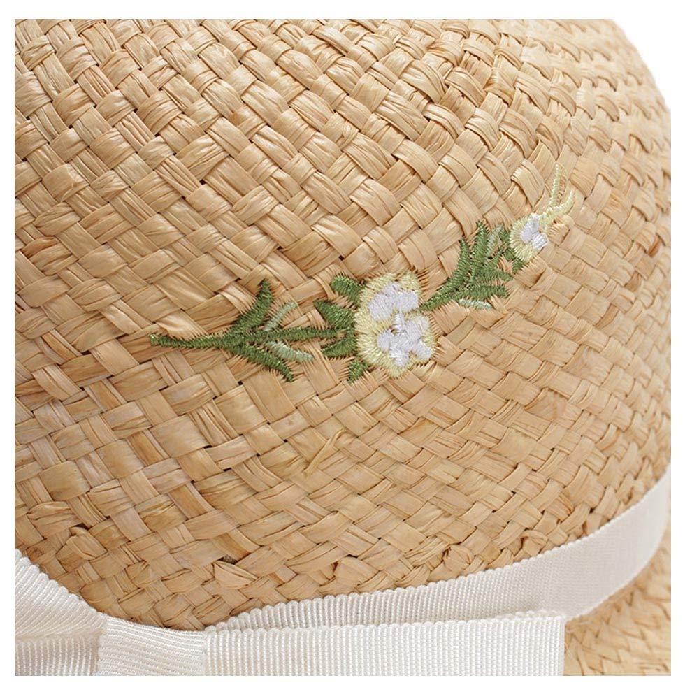 SHENTIANWEI 2019 Sun Hat Lafite Sun Hat Ladies Embroidery Summer Travel Sun Hat Dome Summer Beach Hat Ladies Fold Cap